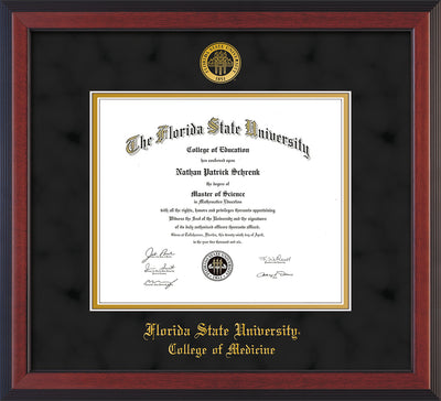 Image of Florida State University Diploma Frame - Cherry Reverse - w/Embossed FSU Seal & College of Medicine Name - Black Suede on Gold mats
