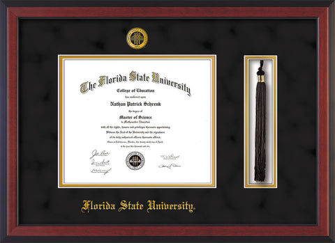 Image of Florida State University Diploma Frame - Cherry Reverse - w/Embossed FSU Seal & Name - Tassel Holder - Black Suede on Gold mats