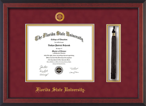 Image of Florida State University Diploma Frame - Cherry Reverse - w/Embossed FSU Seal & Name - Tassel Holder - Garnet Suede on Gold mats