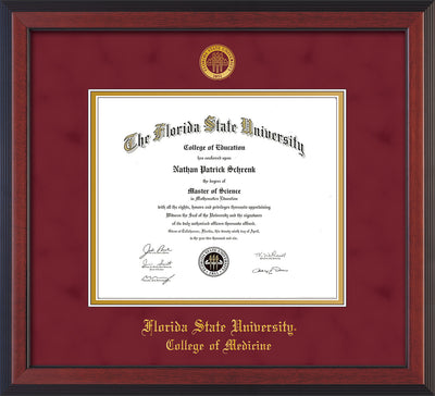 Image of Florida State University Diploma Frame - Cherry Reverse - w/Embossed FSU Seal & College of Medicine Name - Garnet Suede on Gold mats
