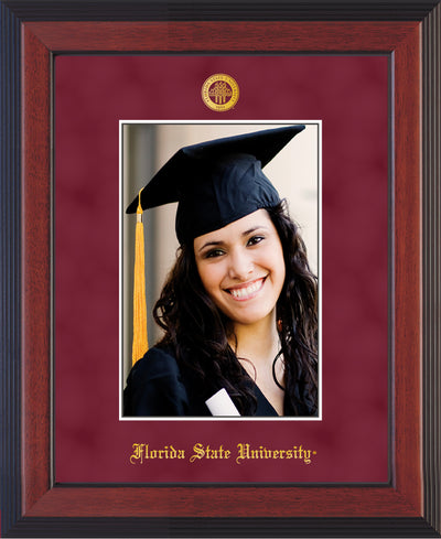 Image of Florida State University 5 x 7 Photo Frame - Cherry Lacquer - w/Official Embossing of FSU Seal & Name - Single Garnet Suede mat