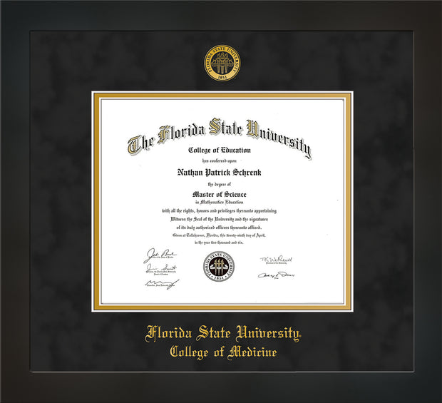 Image of Florida State University Diploma Frame - Flat Matte Black - w/Embossed FSU Seal & College of Medicine Name - Black Suede on Gold mats