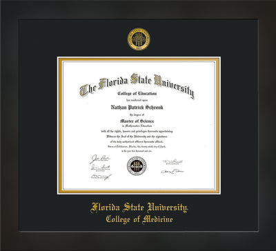 Image of Florida State University Diploma Frame - Flat Matte Black - w/Embossed FSU Seal & College of Medicine Name - Black on Gold mats