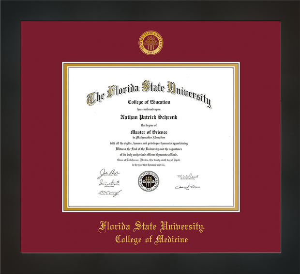 Image of Florida State University Diploma Frame - Flat Matte Black - w/Embossed FSU Seal & College of Medicine Name - Garnet on Gold mats