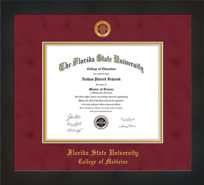 Image of Florida State University Diploma Frame - Flat Matte Black - w/Embossed FSU Seal & College of Medicine Name - Garnet Suede on Gold mats