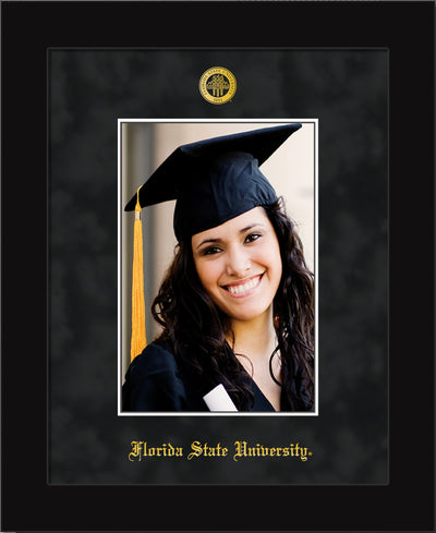 Image of Florida State University 5 x 7 Photo Frame - Flat Matte Black - w/Official Embossing of FSU Seal & Name - Single Black Suede mat