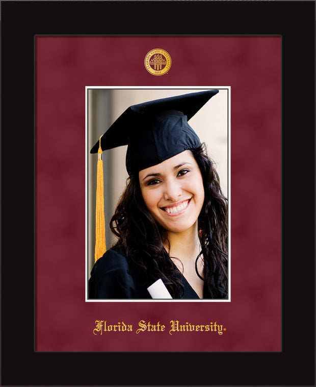 Image of Florida State University 5 x 7 Photo Frame - Flat Matte Black - w/Official Embossing of FSU Seal & Name - Single Garnet Suede mat