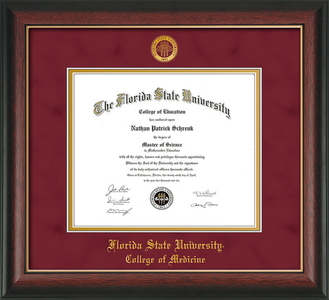 Image of Florida State University Diploma Frame - Rosewood w/Gold Lip - w/Embossed FSU Seal & College of Medicine Name - Garnet Suede on Gold mats