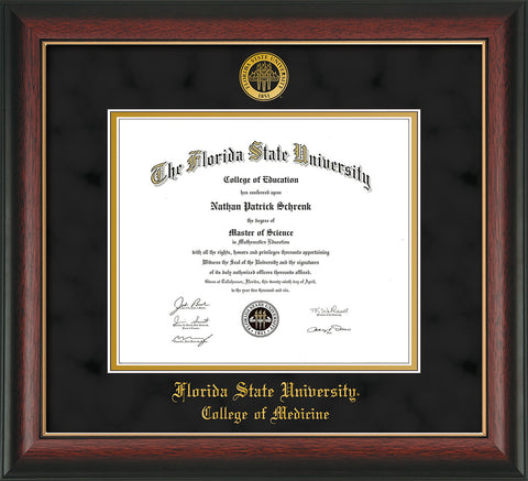 Image of Florida State University Diploma Frame - Rosewood w/Gold Lip - w/Embossed FSU Seal & College of Medicine Name - Black Suede on Gold mats