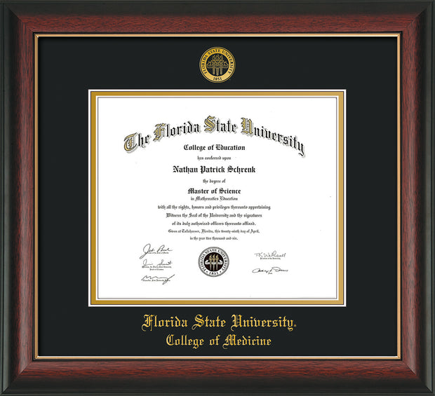 Image of Florida State University Diploma Frame - Rosewood w/Gold Lip - w/Embossed FSU Seal & College of Medicine Name - Black on Gold mats
