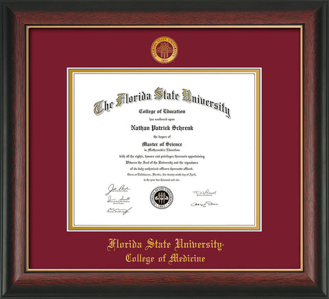 Image of Florida State University Diploma Frame - Rosewood w/Gold Lip - w/Embossed FSU Seal & College of Medicine Name - Garnet on Gold mats