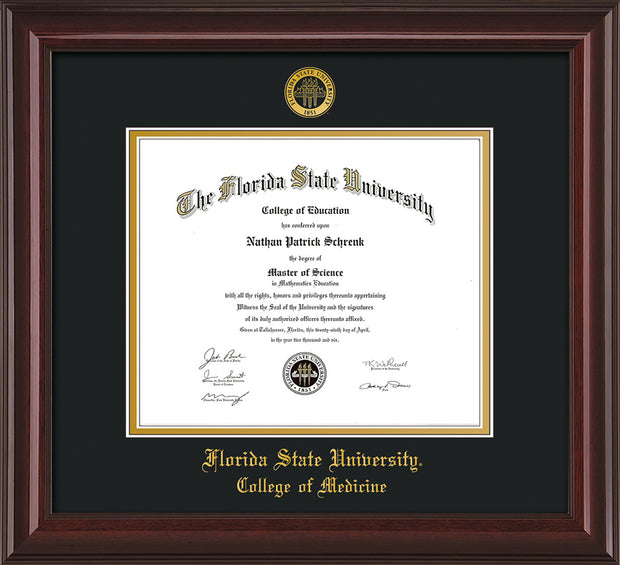 Image of Florida State University Diploma Frame - Mahogany Lacquer - w/Embossed FSU Seal & College of Medicine Name - Black on Gold mats