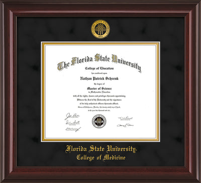 Image of Florida State University Diploma Frame - Mahogany Lacquer - w/Embossed FSU Seal & College of Medicine Name - Black Suede on Gold mats