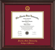 Image of Florida State University Diploma Frame - Mahogany Lacquer - w/Embossed FSU Seal & College of Medicine Name - Garnet on Gold mats