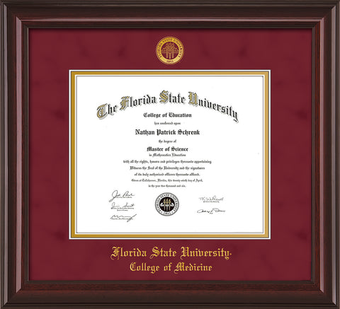Image of Florida State University Diploma Frame - Mahogany Lacquer - w/Embossed FSU Seal & College of Medicine Name - Garnet Suede on Gold mats