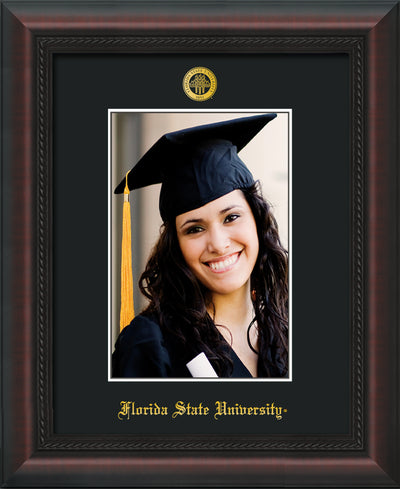 Image of Florida State University 5 x 7 Photo Frame - Mahogany Braid - w/Official Embossing of FSU Seal & Name - Single Black mat