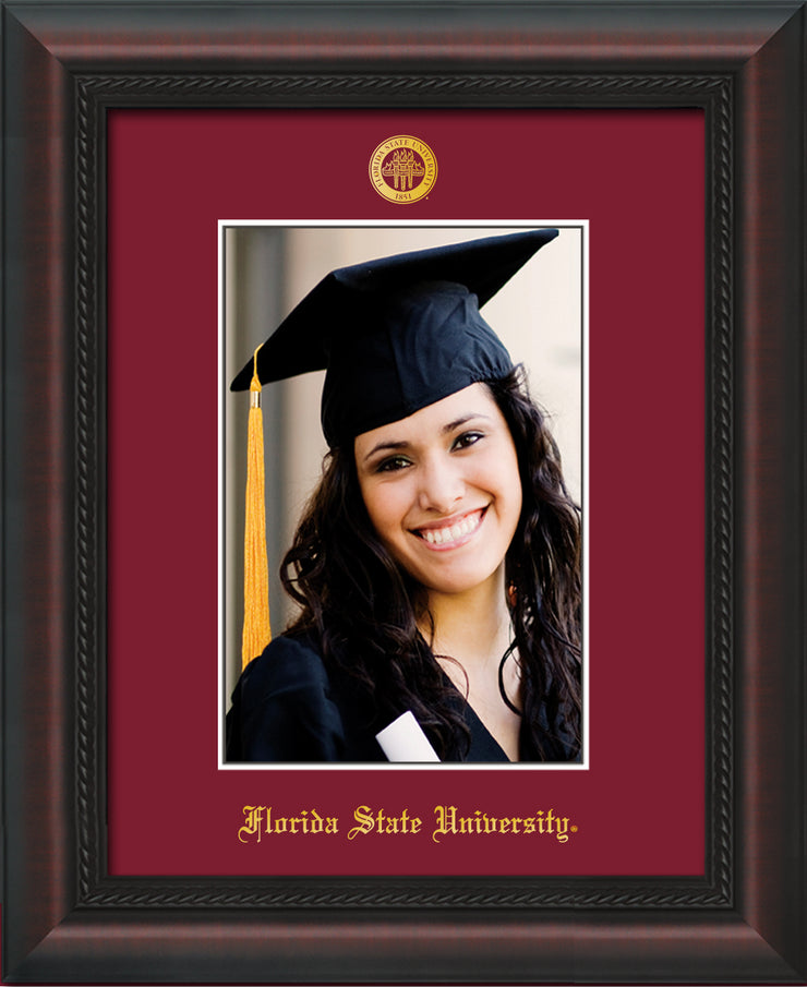 Image of Florida State University 5 x 7 Photo Frame - Mahogany Braid - w/Official Embossing of FSU Seal & Name - Single Garnet mat