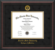 Image of Florida State University Diploma Frame - Mahogany Braid - w/Embossed FSU Seal & College of Medicine Name - Black Suede on Gold mats