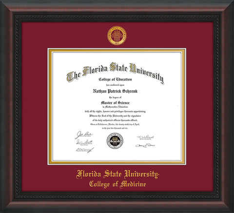 Image of Florida State University Diploma Frame - Mahogany Braid - w/Embossed FSU Seal & College of Medicine Name - Garnet on Gold mats