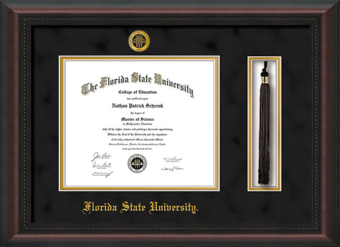 Image of Florida State University Diploma Frame - Mahogany Braid - w/Embossed FSU Seal & Name - Tassel Holder - Black Suede on Gold mats