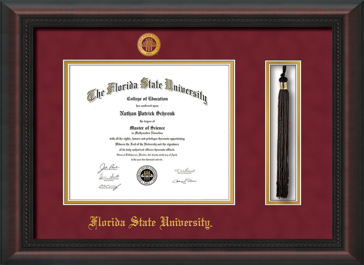 Image of Florida State University Diploma Frame - Mahogany Braid - w/Embossed FSU Seal & Name - Tassel Holder - Garnet Suede on Gold mats