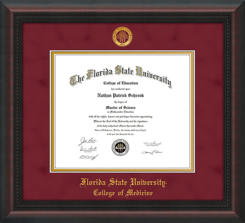 Image of Florida State University Diploma Frame - Mahogany Braid - w/Embossed FSU Seal & College of Medicine Name - Garnet Suede on Gold mats