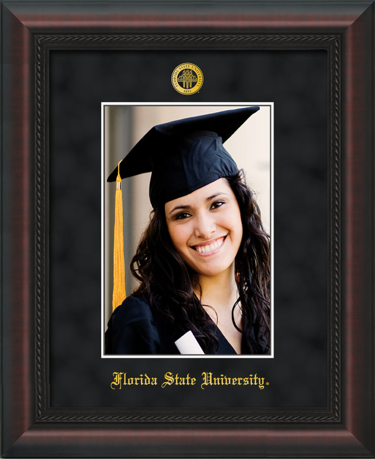 Image of Florida State University 5 x 7 Photo Frame - Mahogany Braid - w/Official Embossing of FSU Seal & Name - Single Black Suede mat