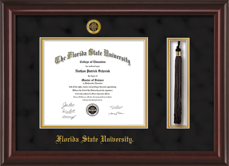 Image of Florida State University Diploma Frame - Mahogany Lacquer - w/Embossed FSU Seal & Name - Tassel Holder - Black Suede on Gold mats