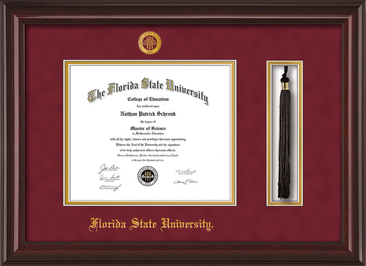 Image of Florida State University Diploma Frame - Mahogany Lacquer - w/Embossed FSU Seal & Name - Tassel Holder - Garnet Suede on Gold mats