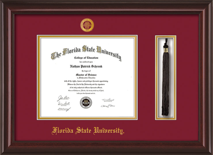 Image of Florida State University Diploma Frame - Mahogany Lacquer - w/Embossed FSU Seal & Name - Tassel Holder - Garnet on Gold mats