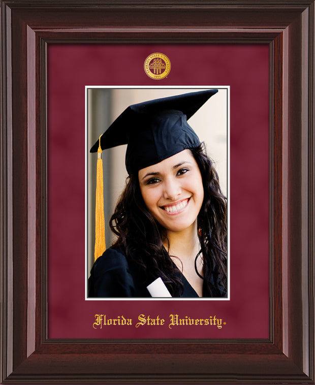Image of Florida State University 5 x 7 Photo Frame - Mahogany Lacquer - w/Official Embossing of FSU Seal & Name - Single Garnet Suede mat