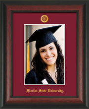 Image of Florida State University 5 x 7 Photo Frame - Rosewood - w/Official Embossing of FSU Seal & Name - Single Garnet mat