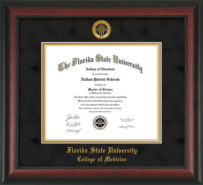 Image of Florida State University Diploma Frame - Rosewood - w/Embossed FSU Seal & College of Medicine Name - Black Suede on Gold mats