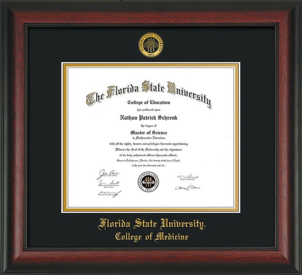 Image of Florida State University Diploma Frame - Rosewood - w/Embossed FSU Seal & College of Medicine Name - Black on Gold mats