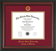 Image of Florida State University Diploma Frame - Rosewood - w/Embossed FSU Seal & College of Medicine Name - Garnet on Gold mats