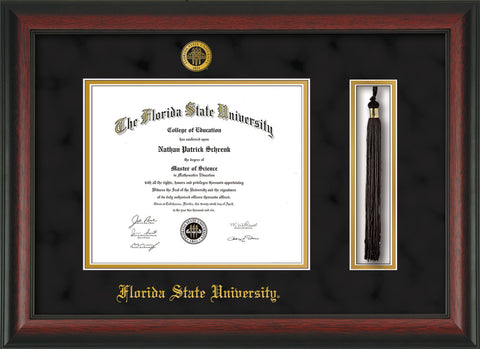 Image of Florida State University Diploma Frame - Rosewood - w/Embossed FSU Seal & Name - Tassel Holder - Black Suede on Gold mats