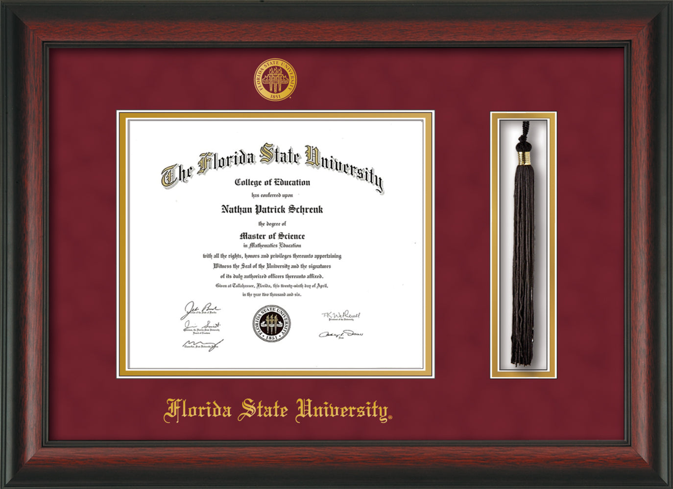 image of florida state university diploma frame rosewood wembossed fsu seal