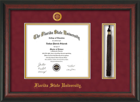 Image of Florida State University Diploma Frame - Rosewood - w/Embossed FSU Seal & Name - Tassel Holder - Garnet Suede on Gold mats