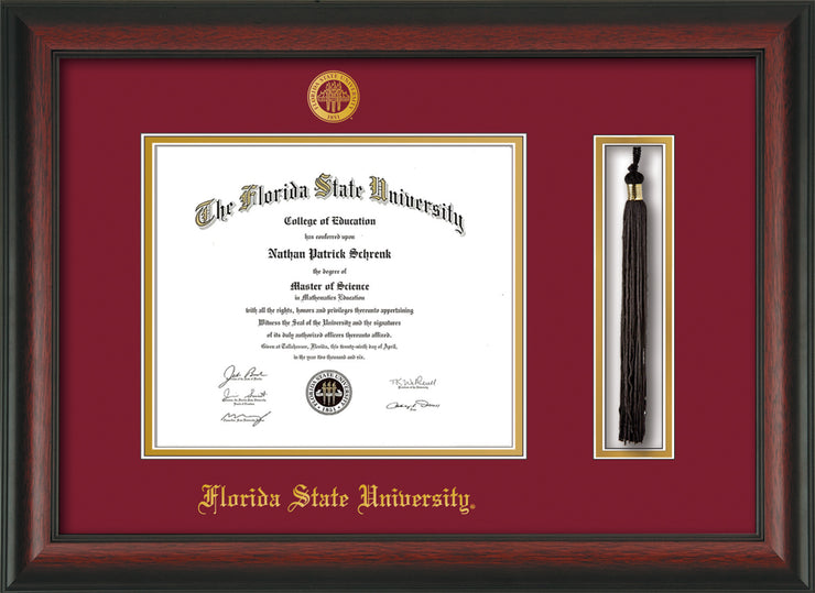 Image of Florida State University Diploma Frame - Rosewood - w/Embossed FSU Seal & Name - Tassel Holder - Garnet on Gold mats