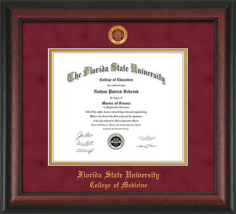 Image of Florida State University Diploma Frame - Rosewood - w/Embossed FSU Seal & College of Medicine Name - Garnet Suede on Gold mats