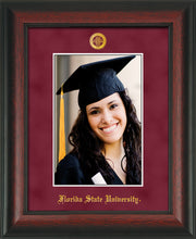 Image of Florida State University 5 x 7 Photo Frame - Rosewood - w/Official Embossing of FSU Seal & Name - Single Garnet Suede mat