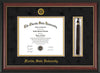Image of Florida State University Diploma Frame - Rosewood w/Gold Lip - w/Embossed FSU Seal & Name - Tassel Holder - Black Suede on Gold mats