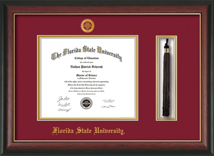 Image of Florida State University Diploma Frame - Rosewood w/Gold Lip - w/Embossed FSU Seal & Name - Tassel Holder - Garnet on Gold mats