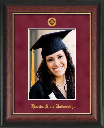 Image of Florida State University 5 x 7 Photo Frame - Rosewood w/Gold Lip - w/Official Embossing of FSU Seal & Name - Single Garnet Suede mat
