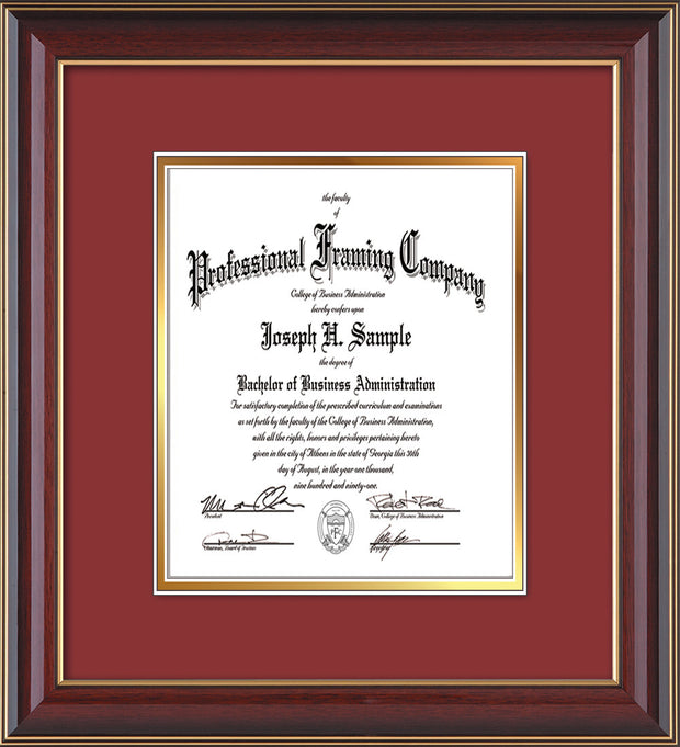 Image of Custom Cherry Lacquer Art and Document Frame with Garnet on Gold Mat Vertical