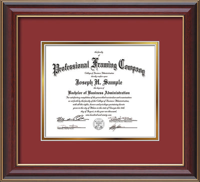Image of Custom Cherry Lacquer Art and Document Frame with Garnet on Gold Mat
