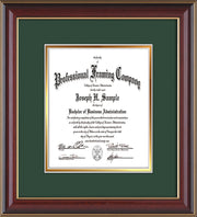 Image of Custom Cherry Lacquer Art and Document Frame with Green on Gold Mat Vertical