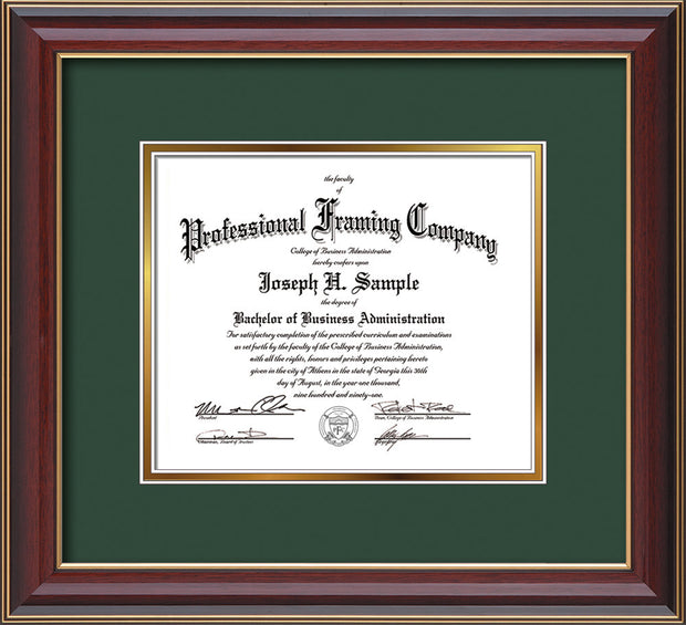Image of Custom Cherry Lacquer Art and Document Frame with Green on Gold Mat