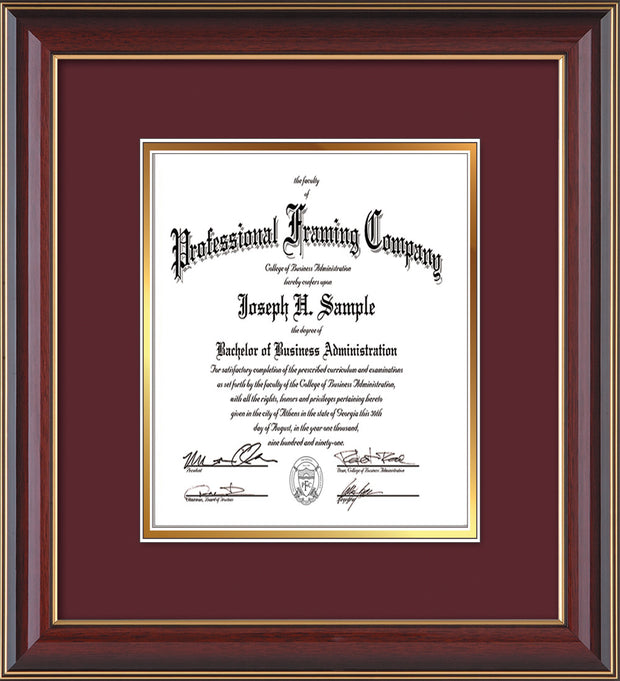 Image of Custom Cherry Lacquer Art and Document Frame with Maroon on Gold Mat Vertical