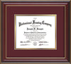 Image of Custom Cherry Lacquer Art and Document Frame with Maroon on Gold Mat